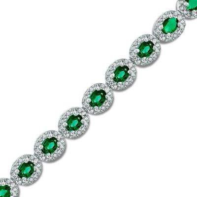 Oval Lab-Created Emerald and Diamond Accent Frame Bracelet in Sterling Silver