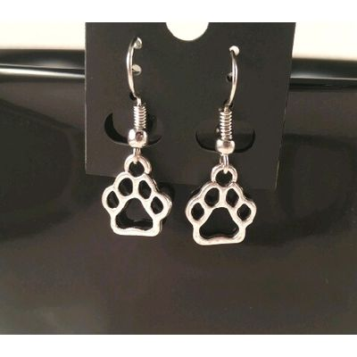 BRAND NEW Small Open Paw Print Dangle Earrings