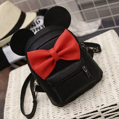 Mickey Ear Teenage PU Leather Mini small Backpack pretty Book shoulder bag
