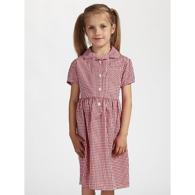 John Lewis School Belted Gingham Checked Summer Dress, Red
