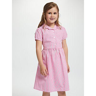John Lewis School Belted Gingham Checked Summer Dress, Pink