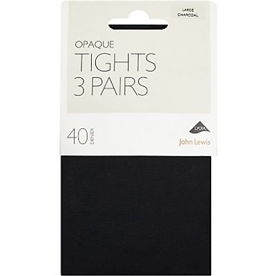 John Lewis 40 Denier Opaque Tights, Pack of 3