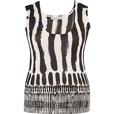 Chesca Brush Stroke Print Camisole, White