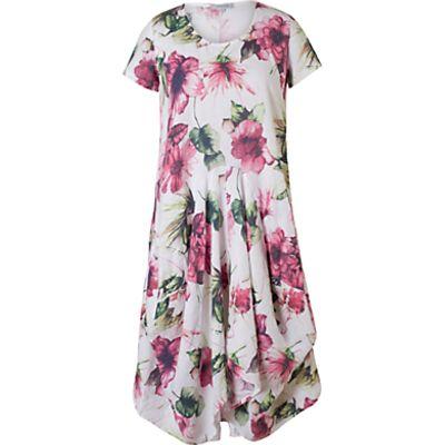 Chesca Print Linen Dress, White/Fuchsia