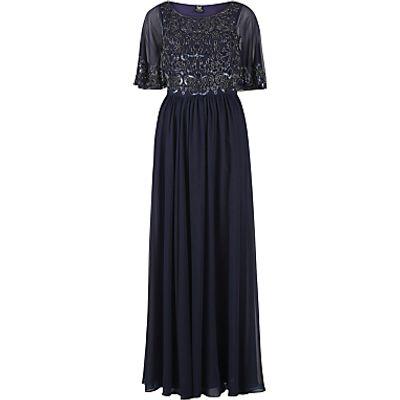 Gina Bacconi Floor Length Chiffon Dress With Beaded Bodice, Navy