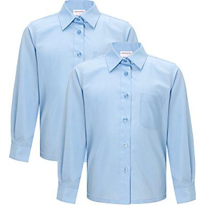 John Lewis Girls' Easy Care Long Sleeve School Blouse, Pack of 2
