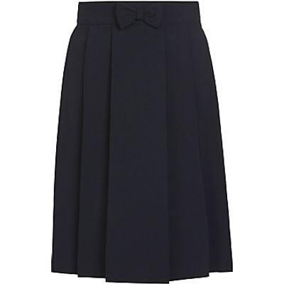 John Lewis Girls' Adjustable Waist Pleated School Skirt With Bow, Navy