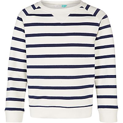 John Lewis Girls' Long Sleeve Stripe Top, White/Peacoat
