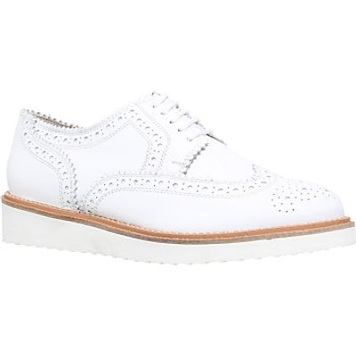 KG by Kurt Geiger Knox Mid Wedge Heeled Brogues, White Leather