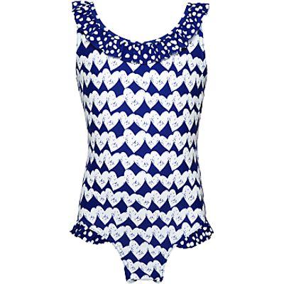 John Lewis Girls' Heart Print Swimsuit, Royal Blue
