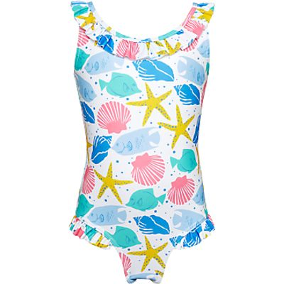 John Lewis Girls' Seashell Print Swimsuit, White