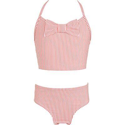 John Lewis Girls' Stripe Tankini, Pink