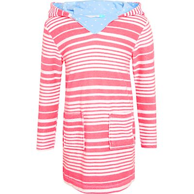 John Lewis Girls' Nautical Stripe Toweling Dress, Cherry Blossom