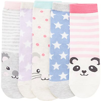 John Lewis Children's Animal Toes Socks, Pack of 5, White/Multi