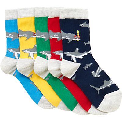 John Lewis Children's Scuba Sharks Socks, Pack of 5, Blue/Multi