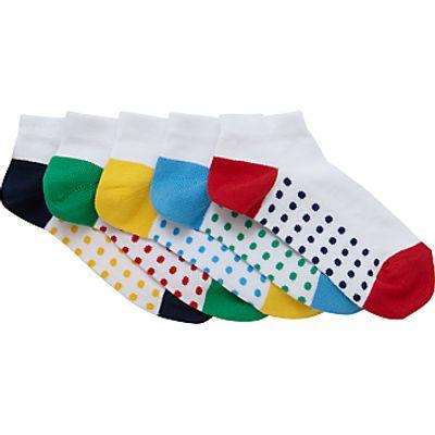 John Lewis Children's Trainer Socks, Pack of 5, White/Multi