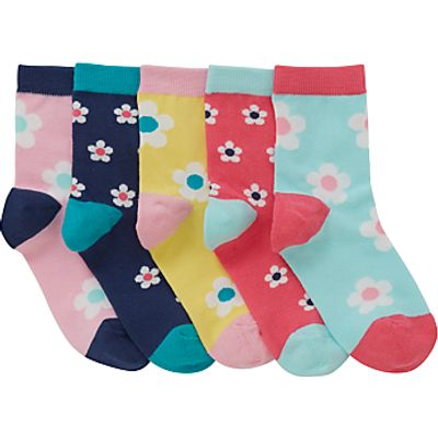 John Lewis Girls' Bold Floral Socks, Pack of 5, Assorted