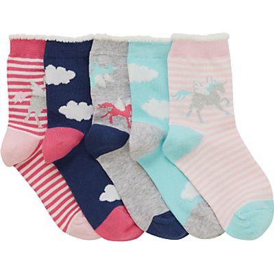 John Lewis Children's Unicorn Socks, Pack of 5, Pink/Multi
