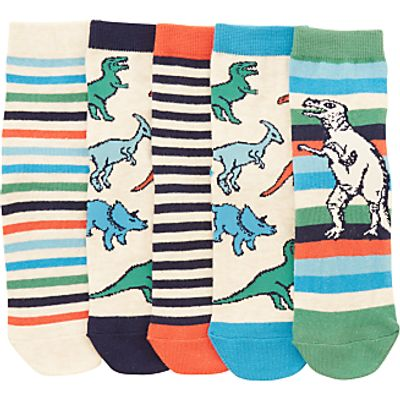 John Lewis Children's Dinosaur Socks, Pack of 5, Orange/Multi