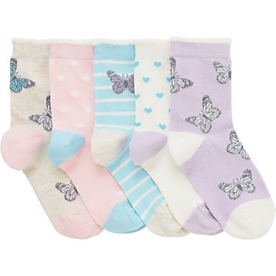 John Lewis Children's Pastel Butterfly Socks, Pack of 5, Lilac/Multi