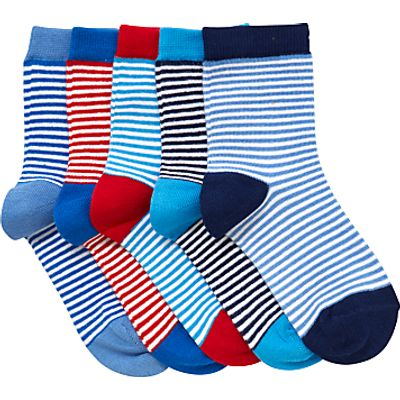 John Lewis Children's Fine Stripe Socks, Pack of 5, Blue/Multi