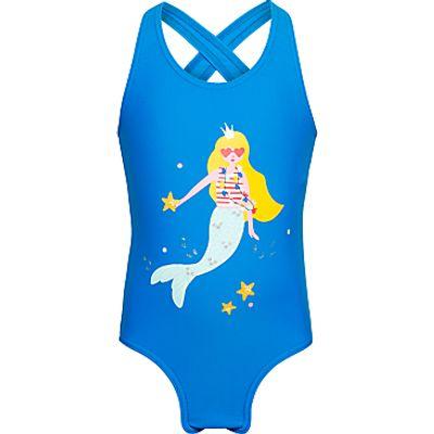 John Lewis Girls' Mermaid Splash Swimsuit, Royal Blue