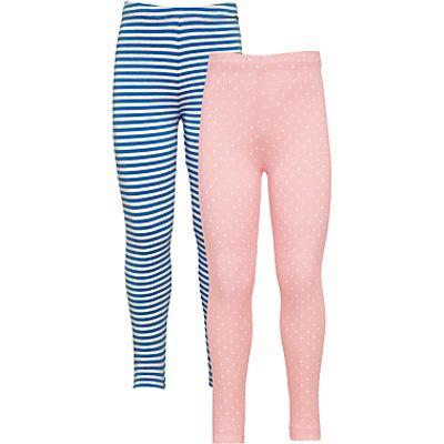 John Lewis Girls' Leggings, Pack of 2, Pink