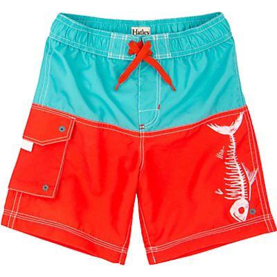 Hatley Boys' Fish Bones Colour Block Board Shorts, Orange/Multi