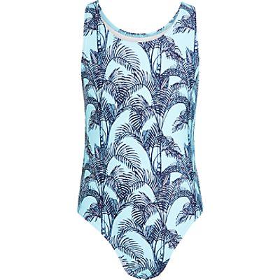 John Lewis Girls' Palm Print Swimsuit, Sky Blue