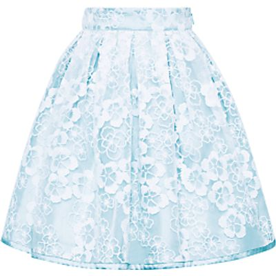 John Lewis Heirloom Collection Girls' Floral Organza Skirt, Blue