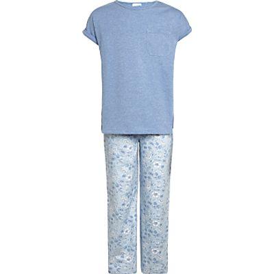 John Lewis Children's Floral Print Pyjamas, Blue