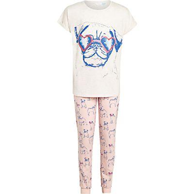 John Lewis Children's Pug Placement Pyjamas, Pink