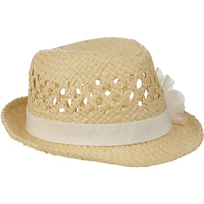 John Lewis Girls' Straw Trilby Hat with Corsage, Natural