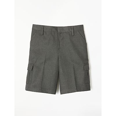 John Lewis Boys' Easy Care Adjustable Waist Cargo School Shorts, Grey