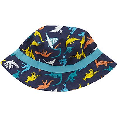 John Lewis Children's Dinosaur Print Bucket Hat, Blue