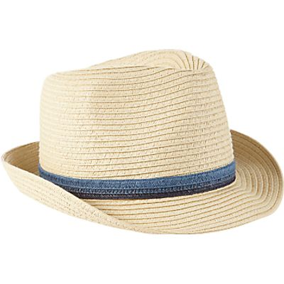 John Lewis Children's Straw Trilby Hat, Cream