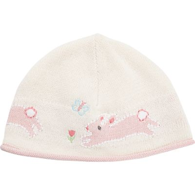 John Lewis Baby Knit Intarsia Bunny Hat, Cream