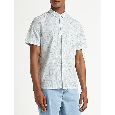 Kin by John Lewis Cotton Poplin Linear Print Short Sleeve Shirt, White