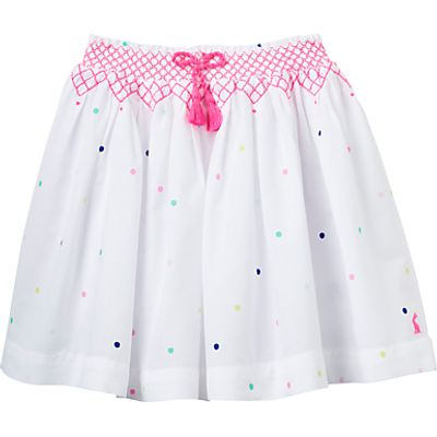 Little Joule Girls' Myla Multi Spot Skirt, White