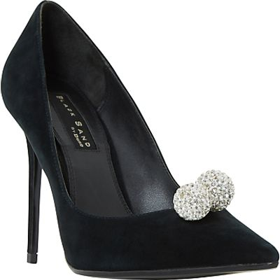 Dune Black Sand Buckinghamm Crystal Ball Court Shoes, Black