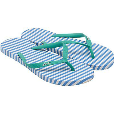Joules Ola Stripe Flip Flops, Blue