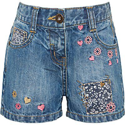 John Lewis Girls' Denim Embroidered Shorts, Blue