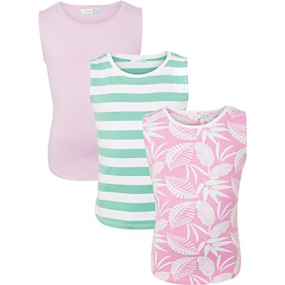 John Lewis Girls' Tropical Print Vest Top, Pack of 3, Bright Pink
