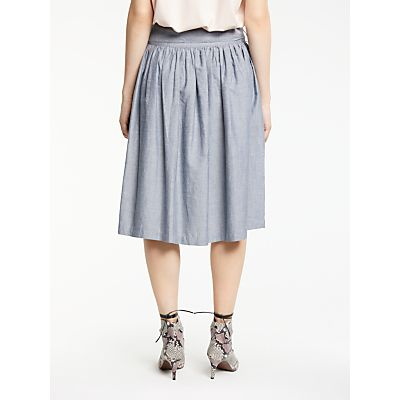 AND/OR Full Midi Skirt, Chambray Blue