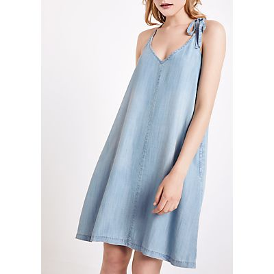 AND/OR Racer Back Denim Look Dress, Blue