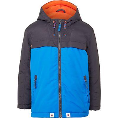 John Lewis Boys' Comedy Colour Block Jacket, Blue/Grey
