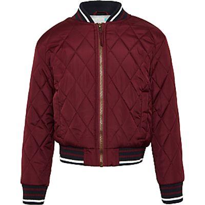 John Lewis Boys' Lightweight Bomber Jacket, Burgundy