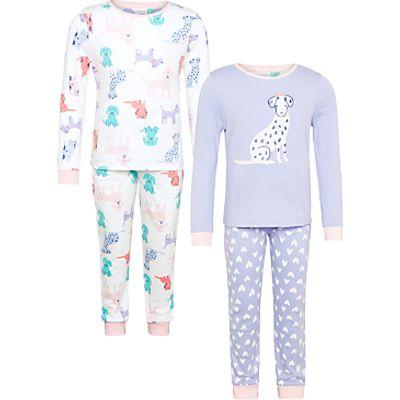 John Lewis Children's Dog Print Pyjamas, Pack of 2, Purple/Multi