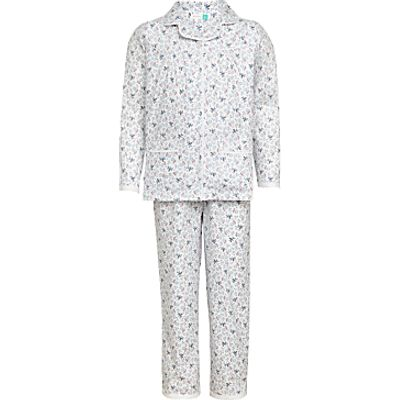 John Lewis Children's Floral Bee Print Pyjamas, Blue
