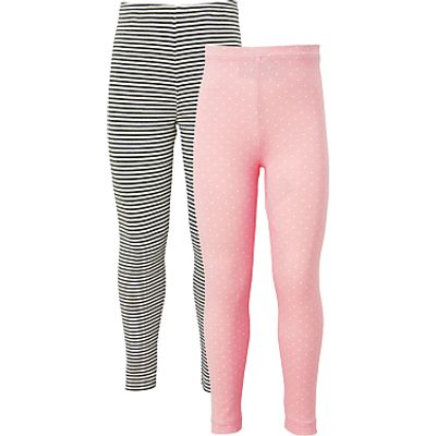 John Lewis Girls' Stripe And Polka Dot Leggings, Pack of 2, Pink/Grey